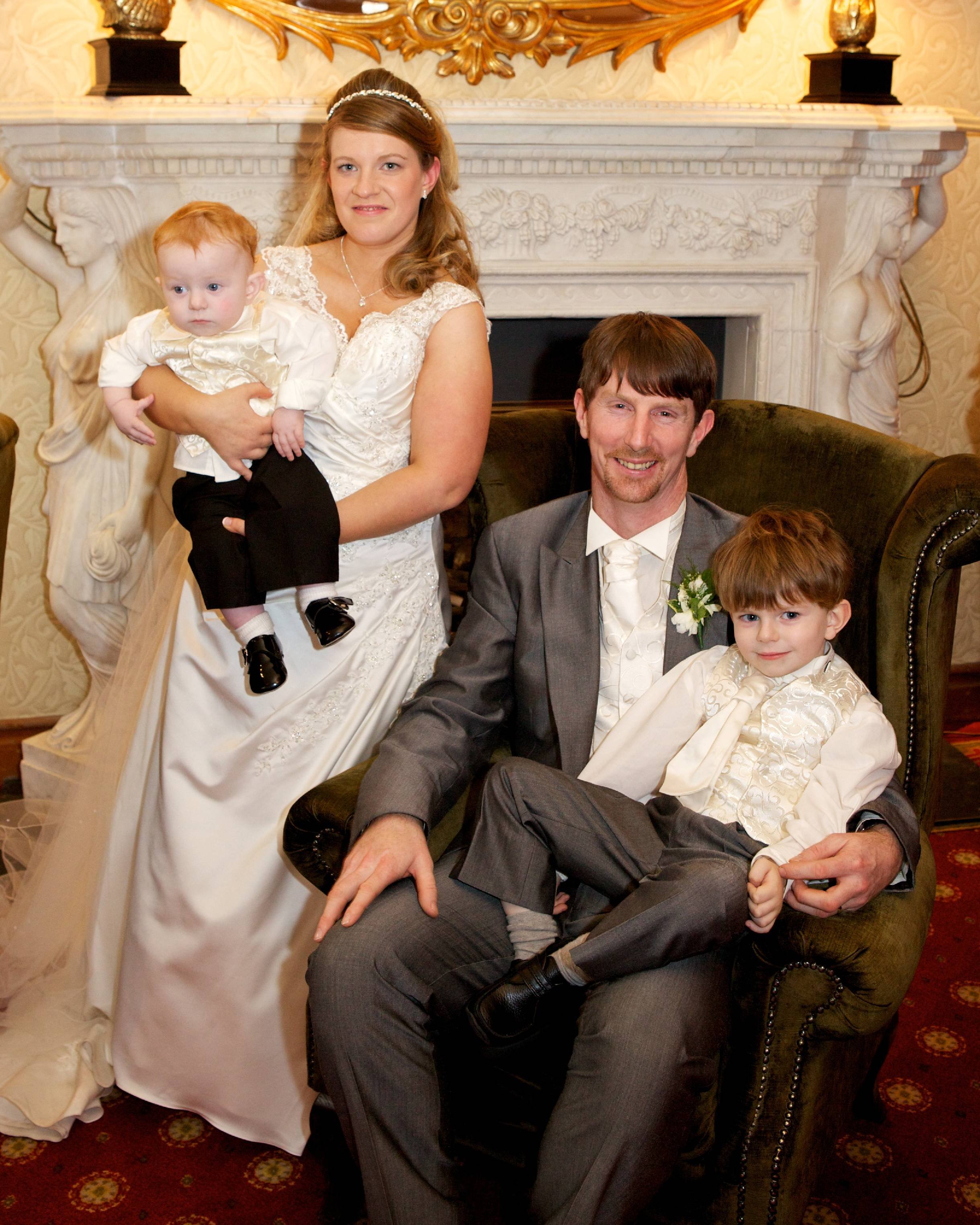 Pictured are Neil and Grainne Swinburne on their wedding day with their beautiful sons Fionn and Conal.